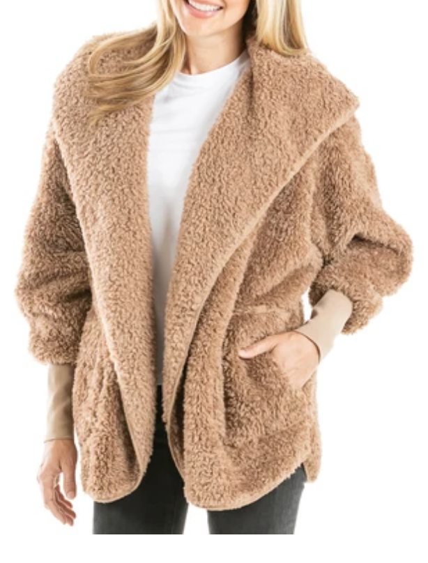 Tan Sherpa Wrap Hoodie with Pockets O/S
