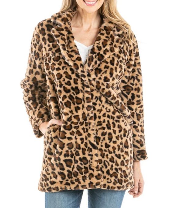 Leopard Faux Fur LONG JACKET w/ Pockets