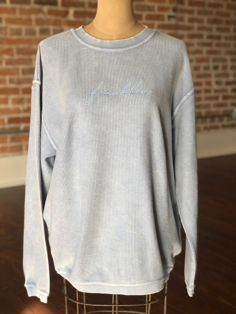Franklin Corded Stitched Sweatshirt Baby Blue