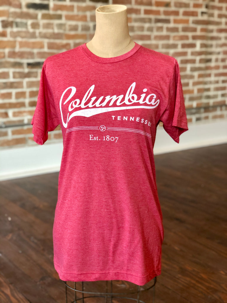Columbia TN Script Red Shirt