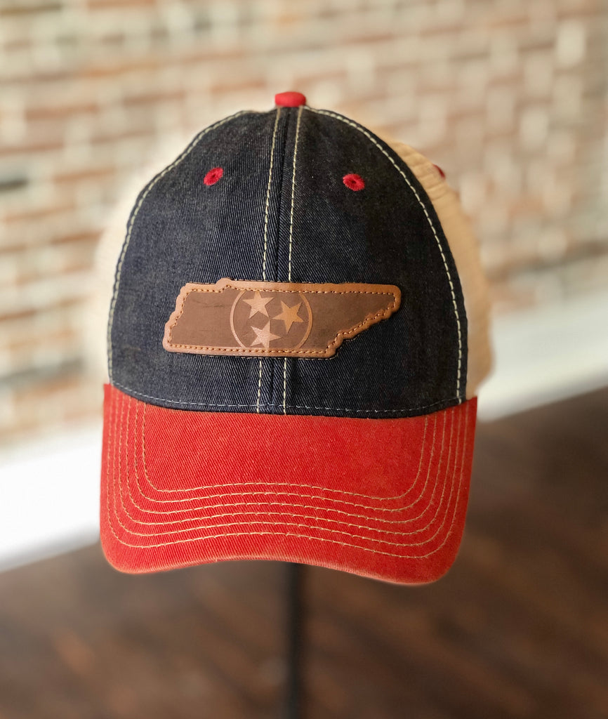 Navy/Scarlet Leather Patch TN Hat