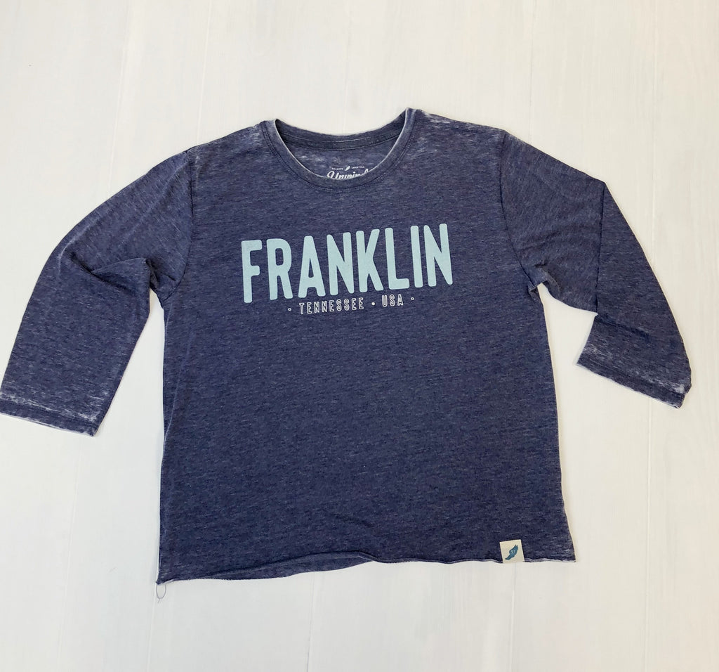 Navy Franklin TN USA Burnout 3/4slv Tee
