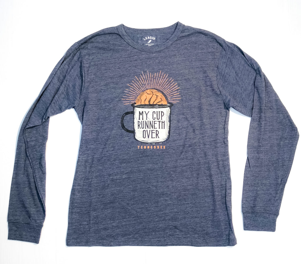 My Cup Runneth LS Pocket Tee Navy