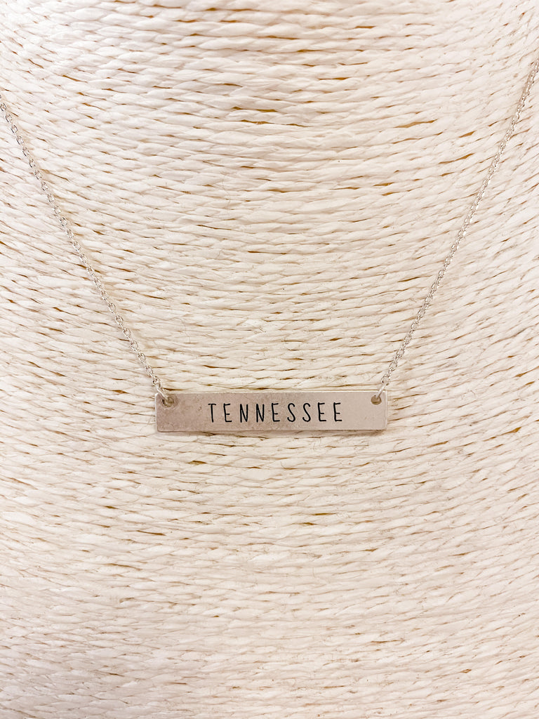 Tennessee Engraved Bar Necklace Satin Silver