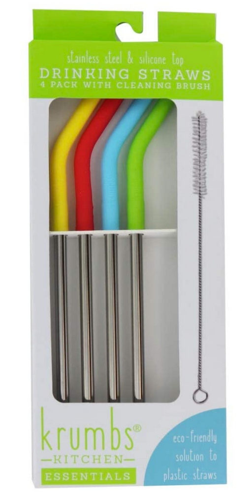 Stainless Steel & Silicone Top Drinking Straws