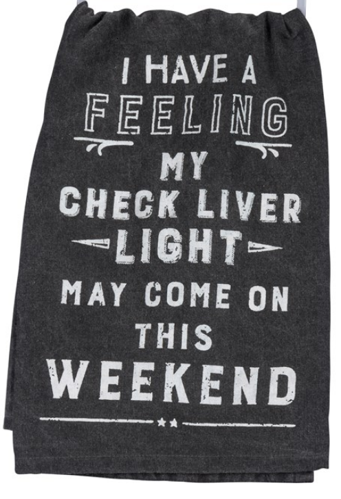 Check Liver Light Tea Towel