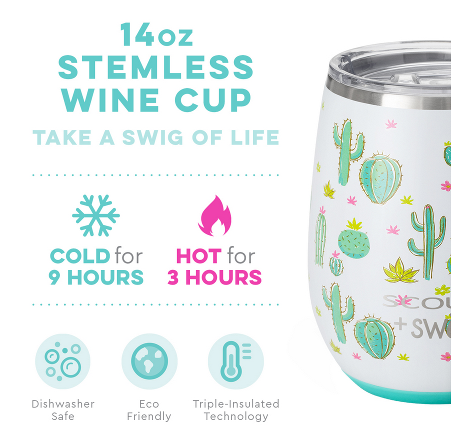 Swig Cactus Makes Perfect by Scout 14oz Stemless Wine Cup
