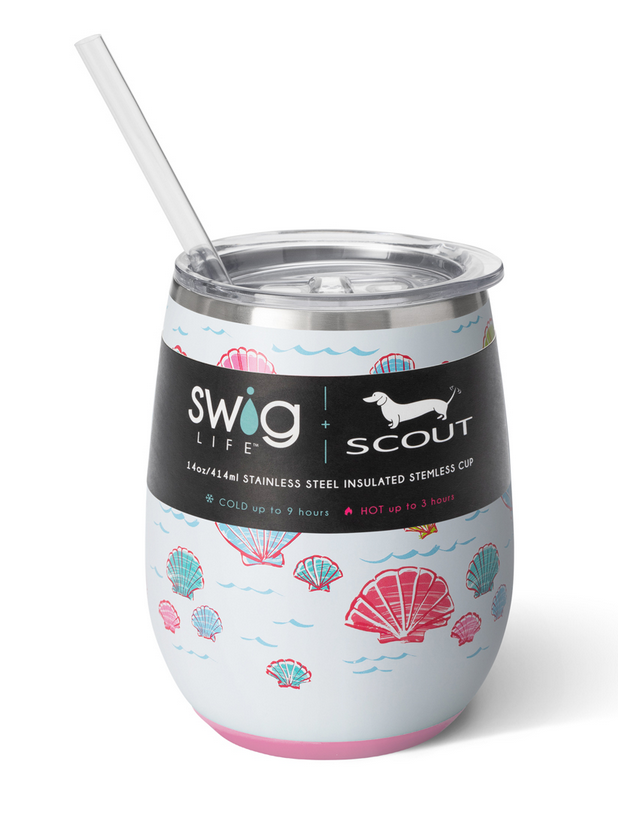 Swig Let's Shellabrate by Scout 14oz Stemless Wine Cup