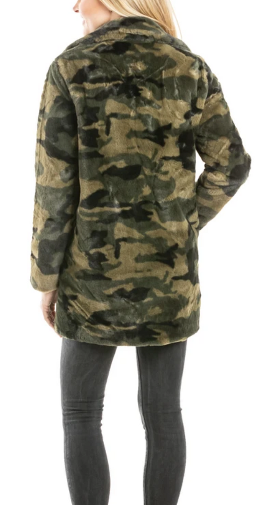 Green Camo Faux Fur JACKET w/ Pockets