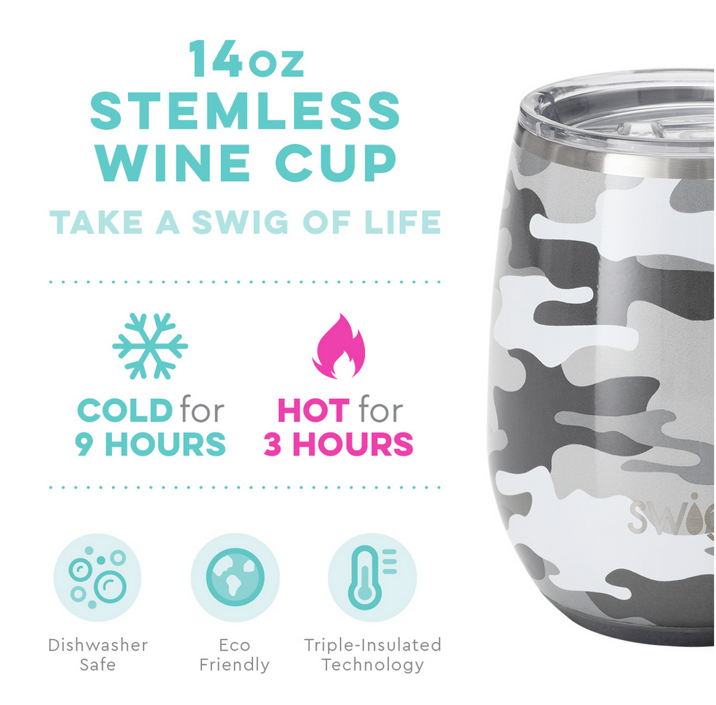 Swig 14oz Stemless Wine Cup -  Incognito Camo