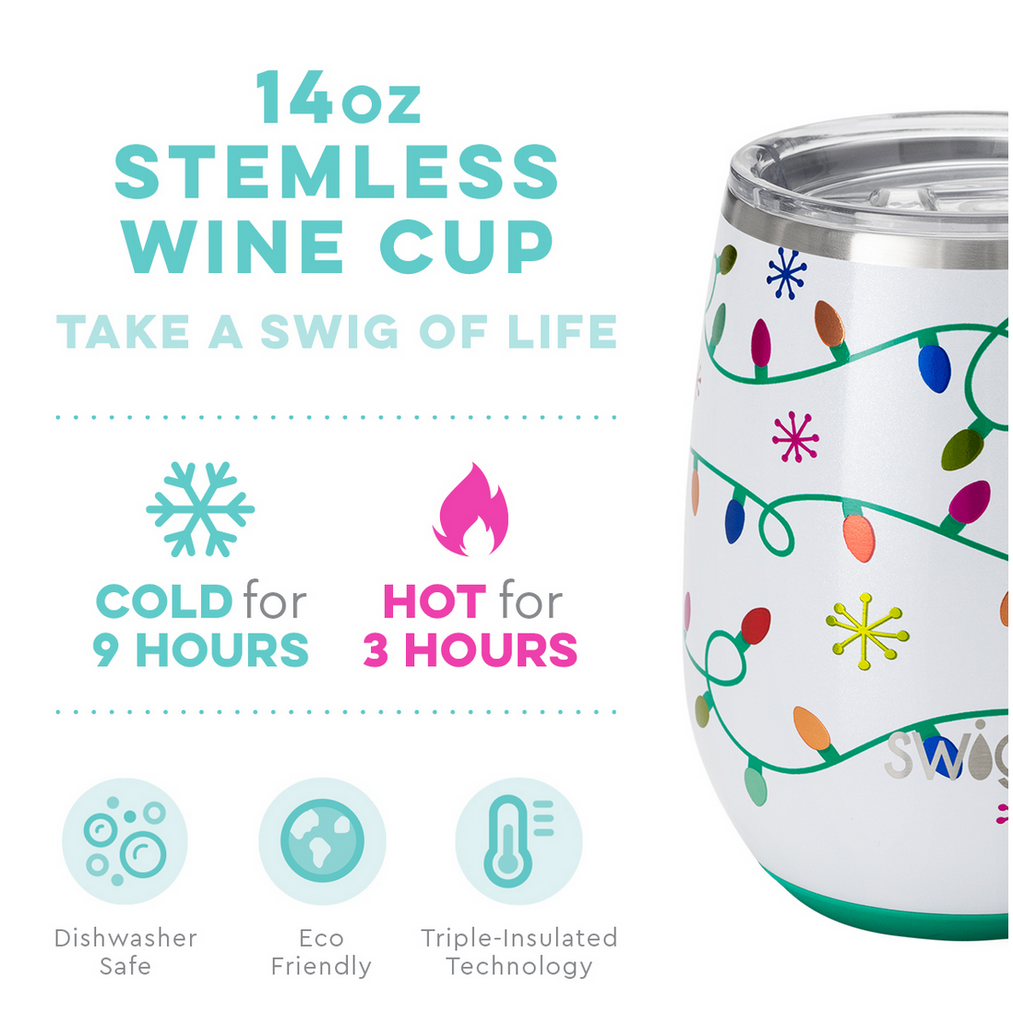 Swig 14oz Stemless Cup Let it Glow