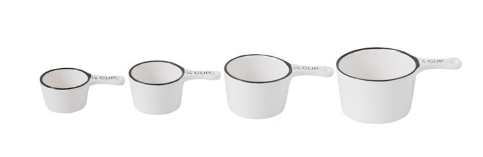Stoneware Measuring Cups, White w/ Black Rim, Set of 4 CRCP
