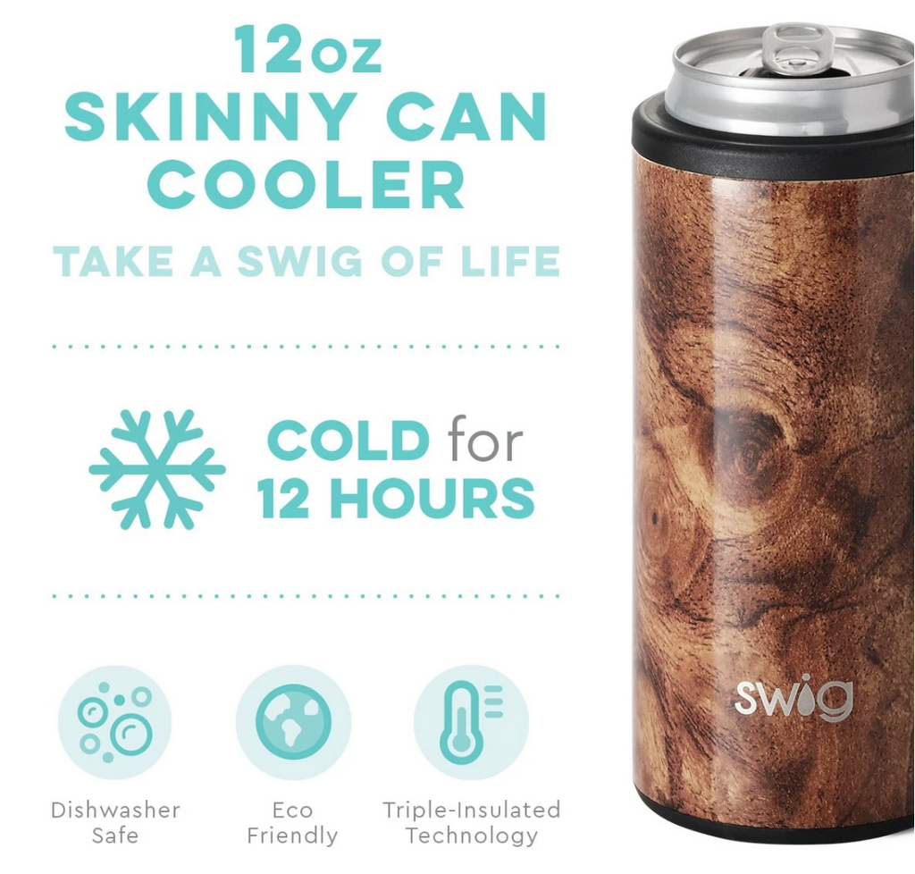 Swig Skinny Can Cooler Black Walnut