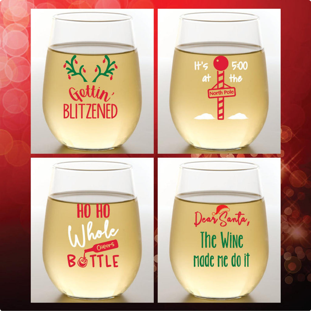 Set of 4 Blitzened Wine Glasses - Shatterproof