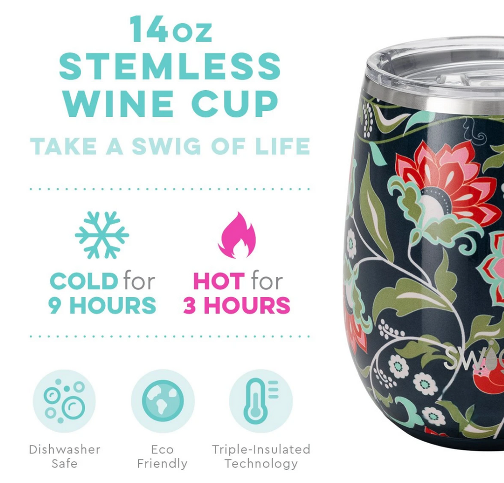 Swig 14oz Stemless Cup Lotus Blossom