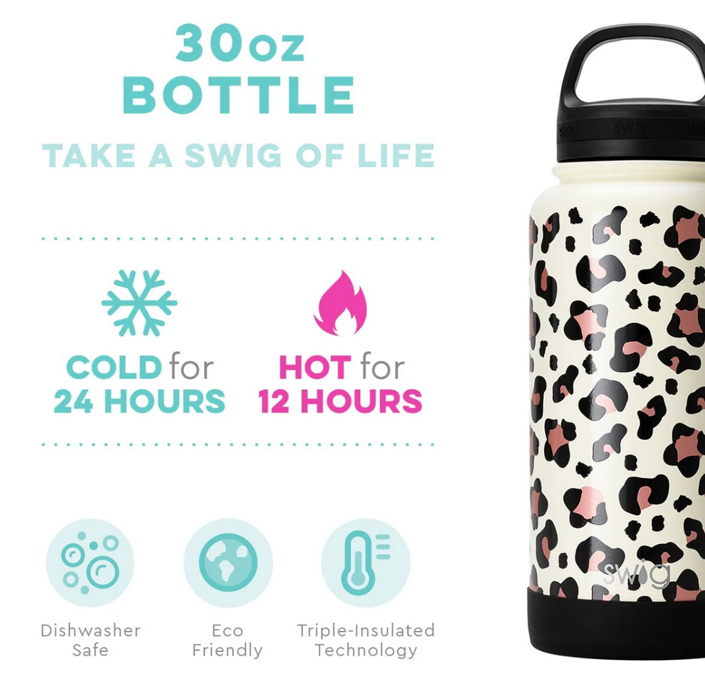 Swig 30oz Bottle with Twist Lid - Luxy Leopard