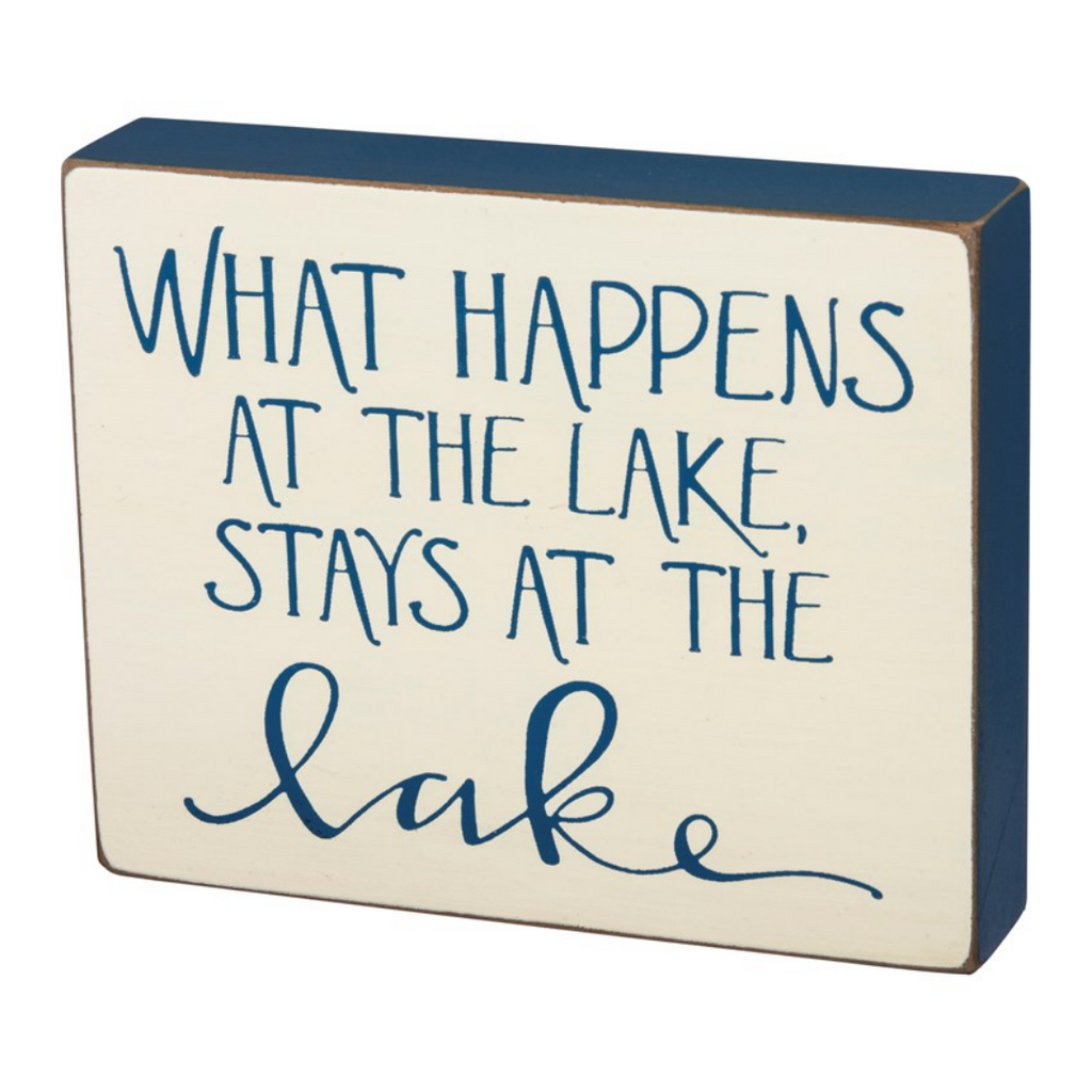 What Happens at the Lake Box Sign
