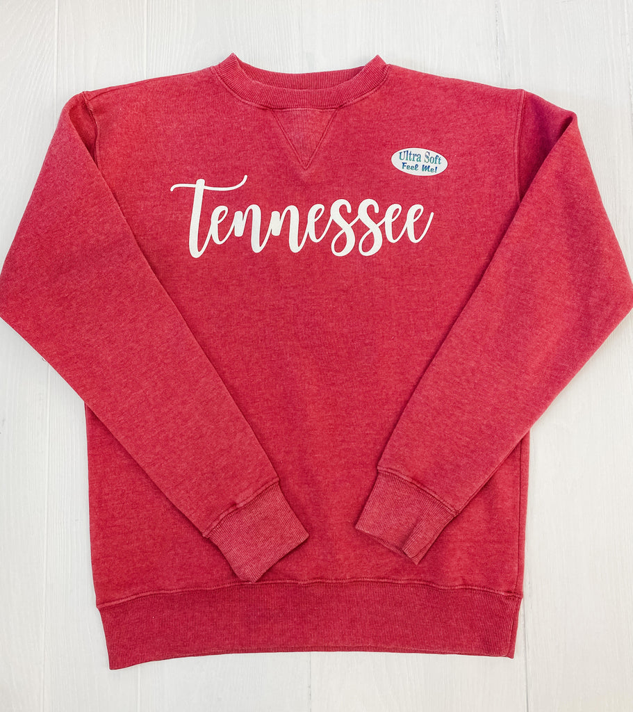 Vintage Wash Red TENNESSEE Script