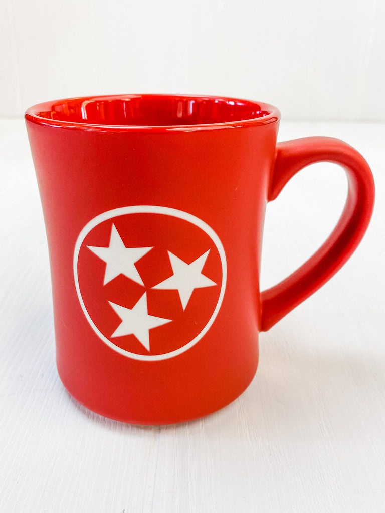 Tri Star Engraved Mug - Matte Red -16 oz