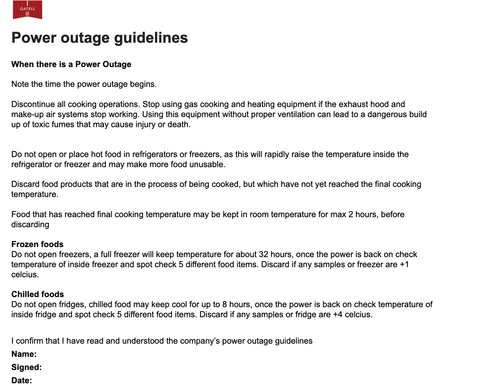 gafell policy for power outage with freezers