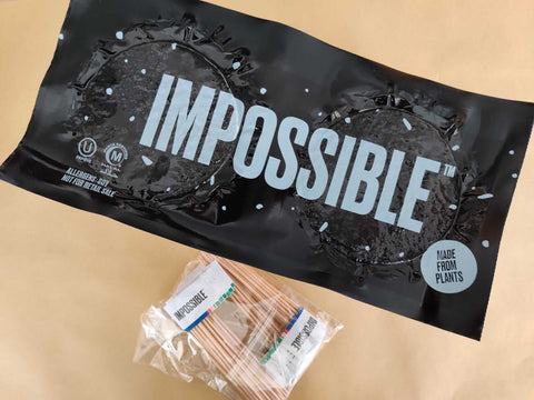 impossible meat bulk packaging with toothpick flags