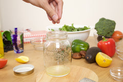 Seasoning dressing for a mason jar salad with bean fettuccine from Gafell foods