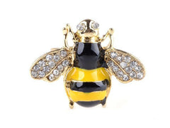 Retro Punk Crystal Bee Adjustable Rings