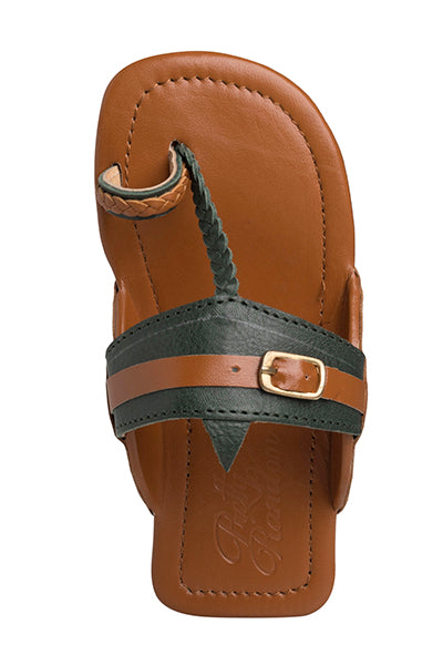 Olive and Tan Buckled Kolhapuris