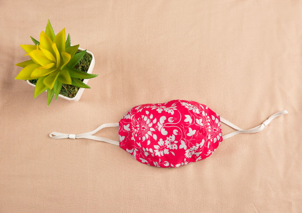 Bright Pink Cotton Mask with Flowers 1