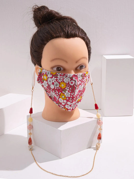 Ten on Ten Floral Mask with Mask Holding Chain Adult Mask