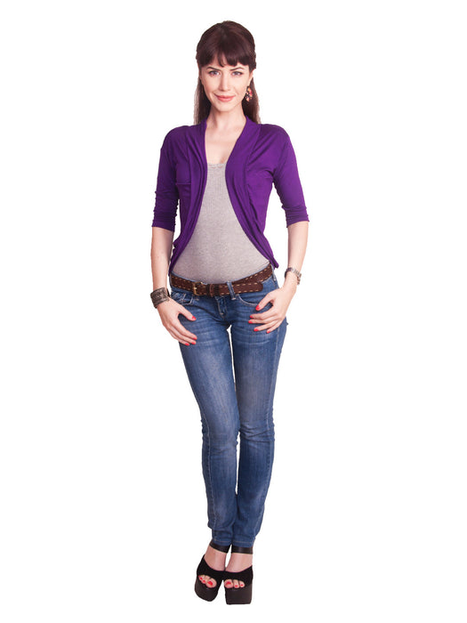 Ten on Ten women's Solid pattern Purple Shrug