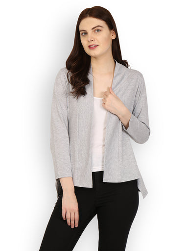 Ten on Ten Women's Grey Shrug with Dipped Hems