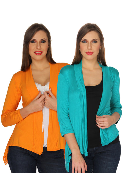 Ten on Ten Women's Pair of Orange/ Sky Blue Long Shrug