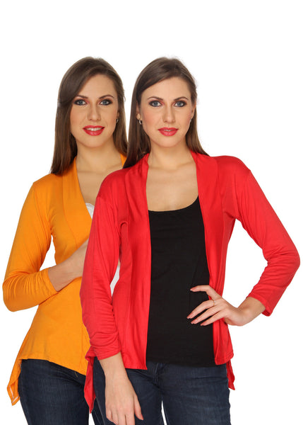 Ten on Ten Women's Pair of Orange/ Red Long Shrug