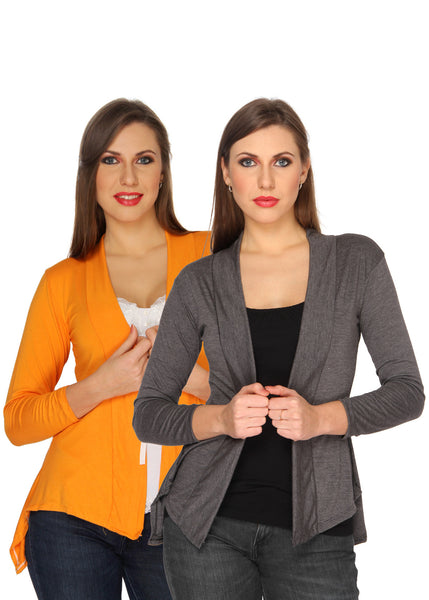 Ten on Ten Women's Pair of Orange/ Carbon Grey Long Shrug