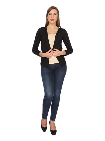 Ten on Ten Women's Black Plain Shrug with Pockets