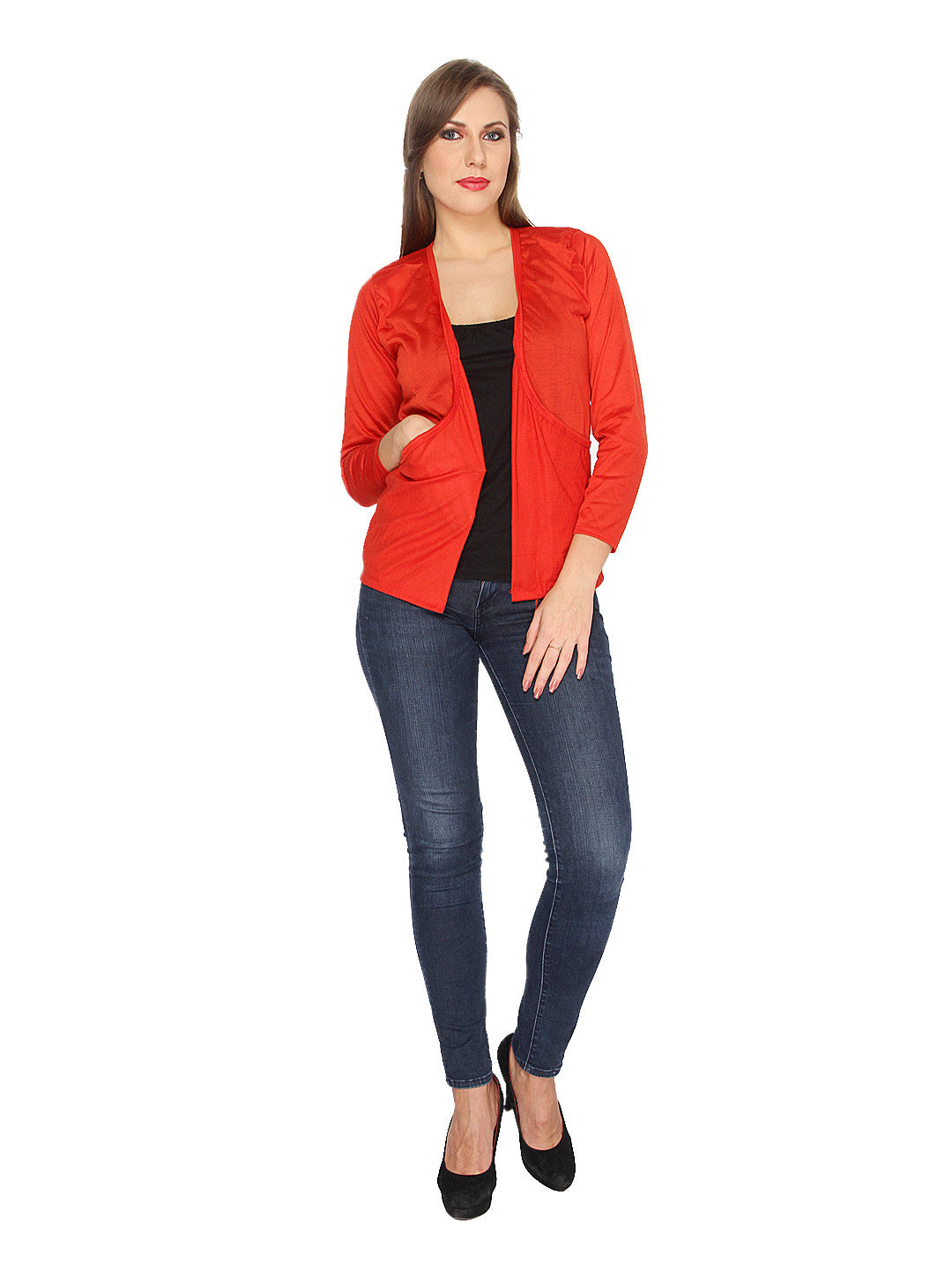 Ten on Ten Women's Red Long Pocket shrug