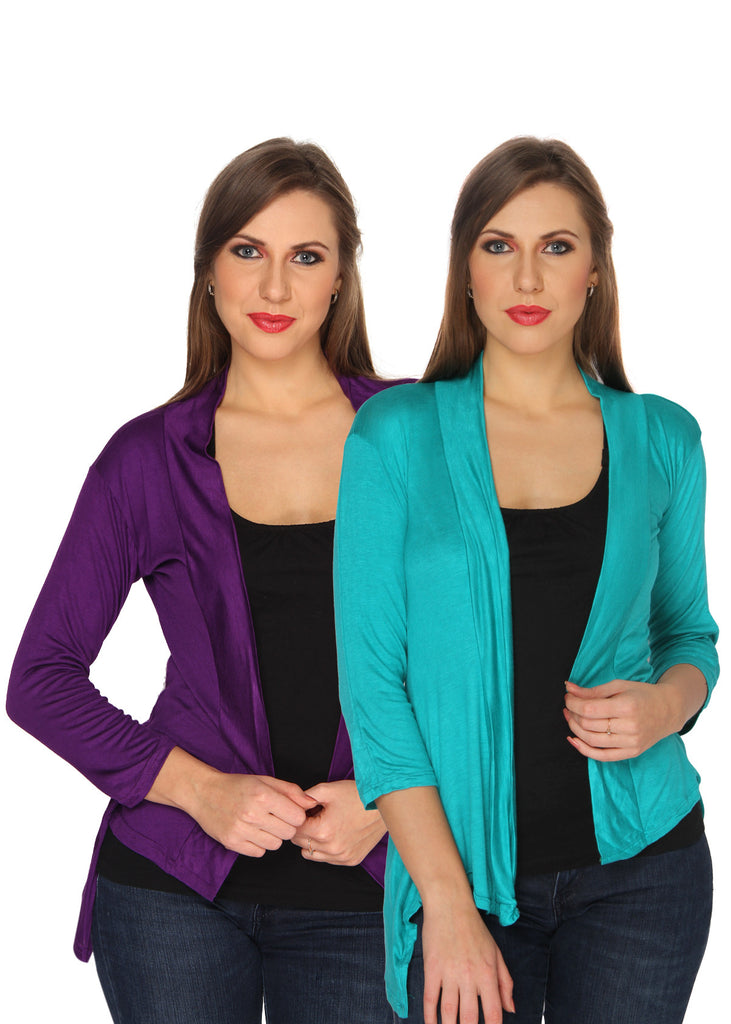 Ten on Ten Women's Pair of Purple/ Sky Blue Long Shrug