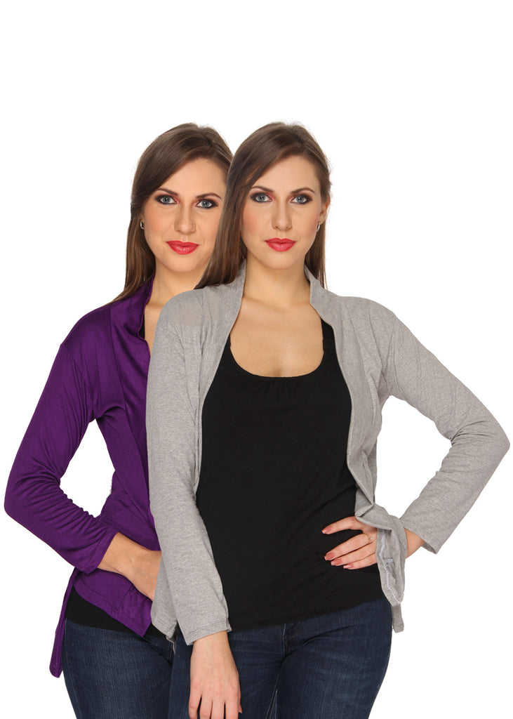 Ten on Ten Women's Pair of Purple/ Grey Long Shrug