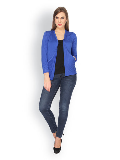 Ten on Ten Women's Blue Long Pocket shrug