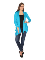 Ten on Ten Women's Sky Blue Plain Long Shrug