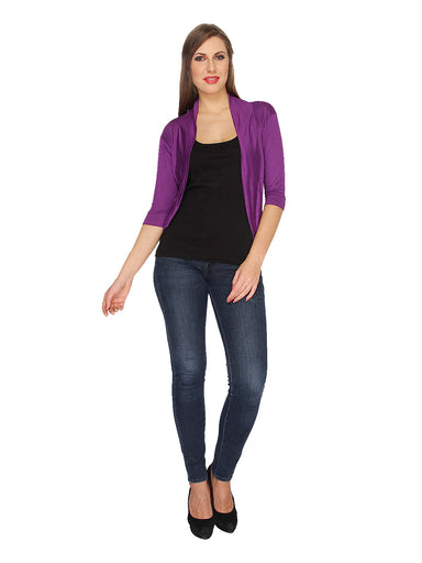 Ten on Ten Women's Purple Half Sleeve Shrug