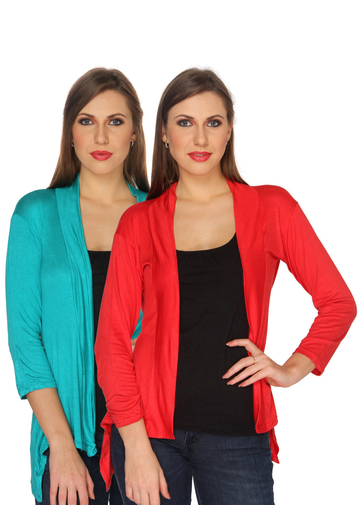 Ten on Ten Women's Pair of SkyBlue/ Red Long Shrug