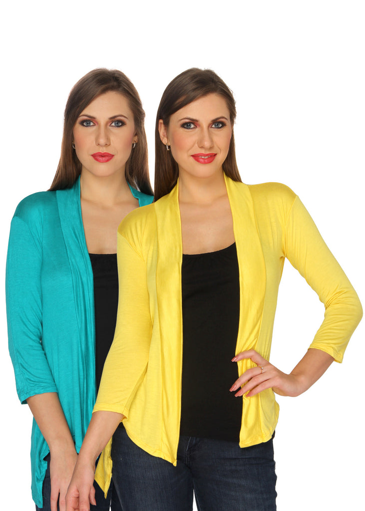 Ten on Ten Women's Pair of Sky Blue/ Yellow Long Shrug
