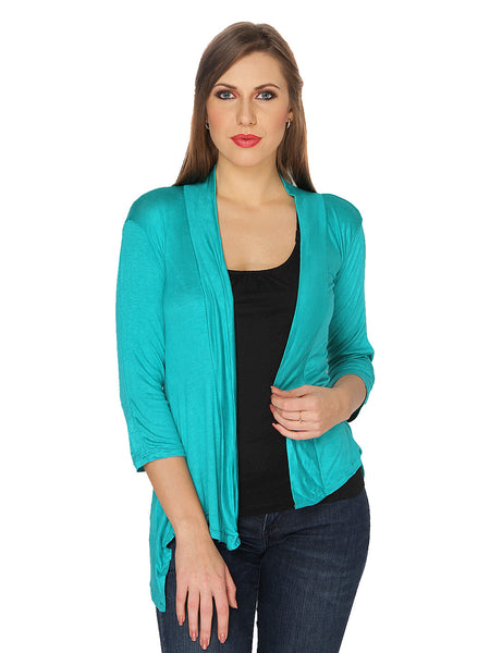 Ten on Ten Women's Pair of Green/ Sky Blue Long Shrug