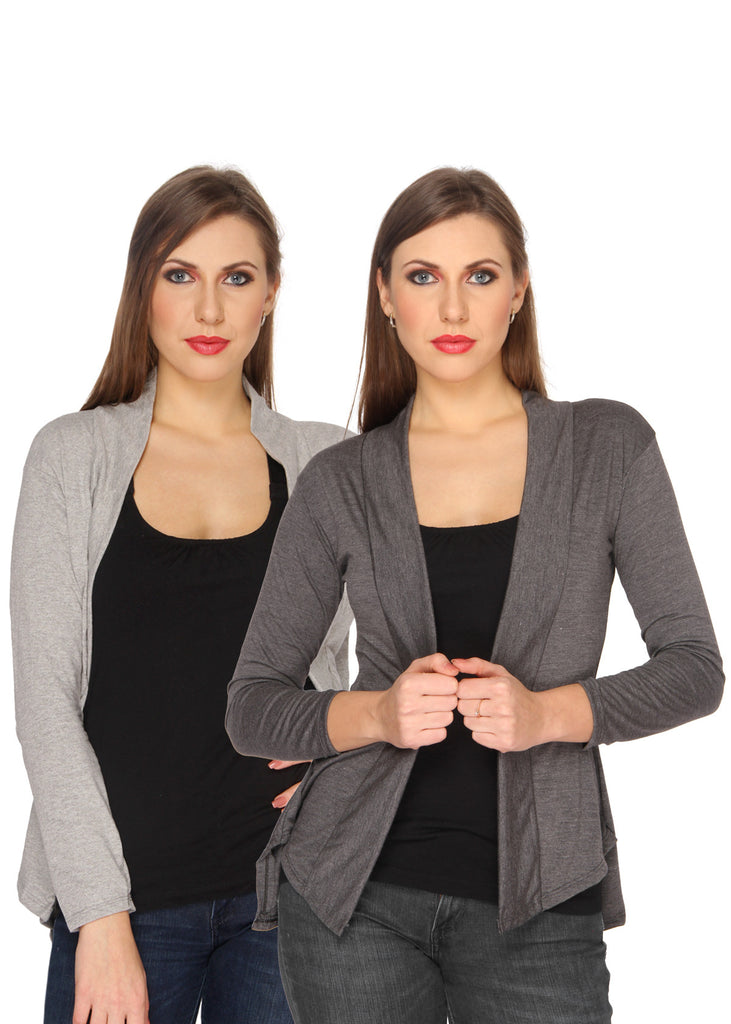 Ten on Ten Women's Pair of Grey/ Carbon Grey Long Shrug