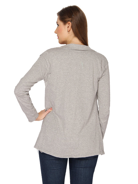Ten on Ten Women's Pair of Grey/ White Long Shrug