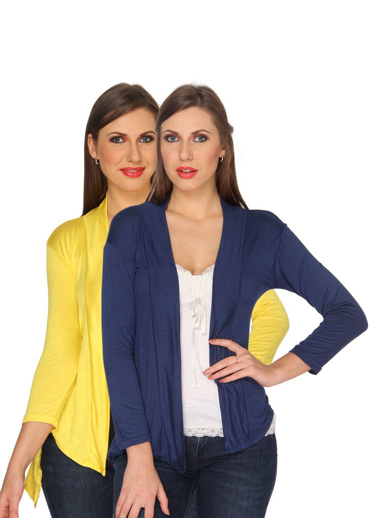 Ten on Ten Women's Pair of Yellow/ Navy Blue Long Shrug