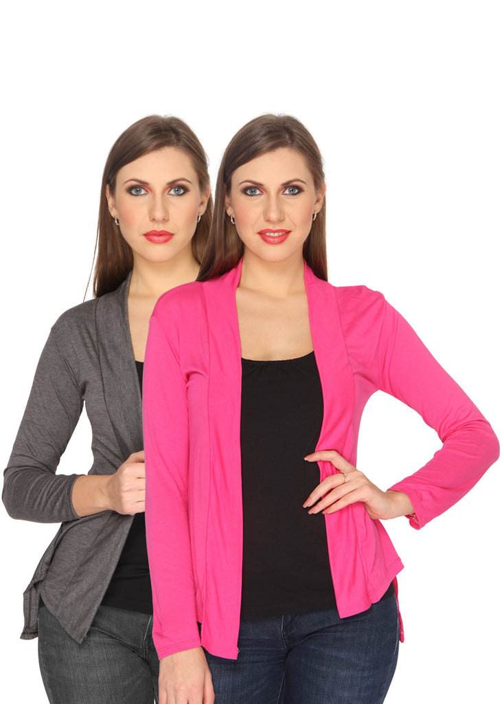 Ten on Ten Women's Pair of Carbon Grey/ Pink Long Shrug
