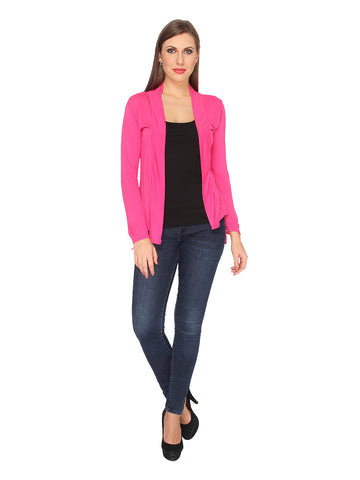 Ten on Ten Women's Cotton Viscose fabric Pink Shrug